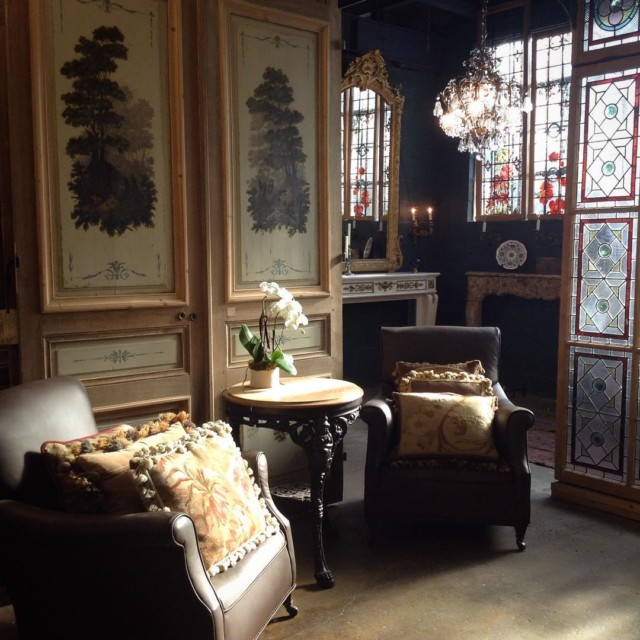 Our showroom under the morning light frenchdoors gilded trumeau stainedglasshellip