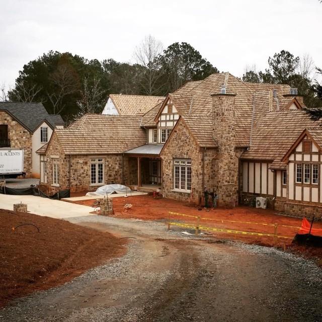 Progress on the job site! The oak beams and stuccohellip