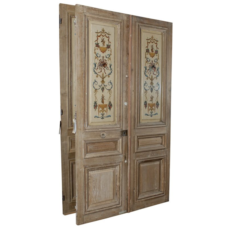 French Painted Doors A10829 - Antique Oak French Doors, Wood Glass Front Door, Architectural