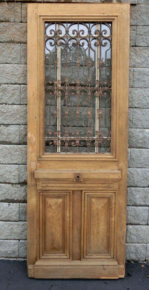 French Oak & Iron Door A11829 - Antique Oak French Doors, Wood Glass Front Door, Architectural
