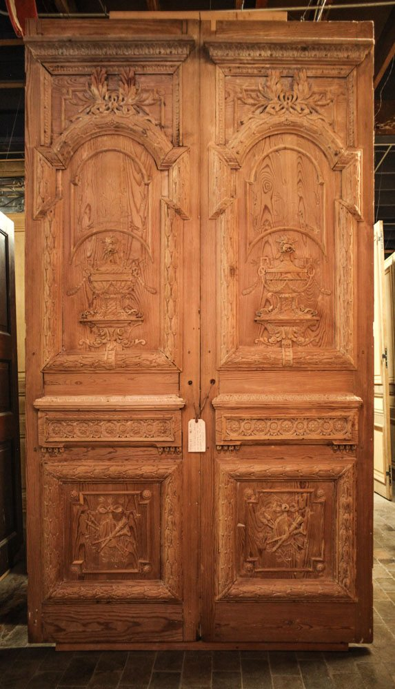 Carved French Pine Doors A10620 - Antique Oak French Doors, Wood Glass Front Door, Architectural