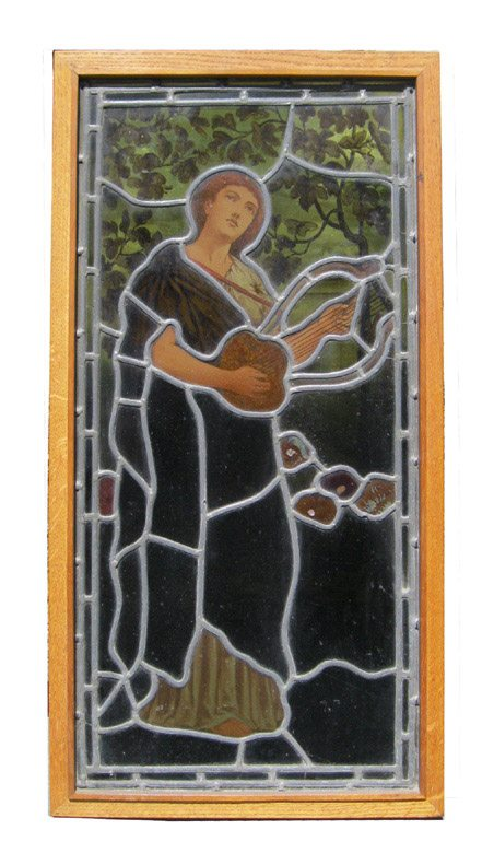 Stained Glass Figure With Lyre A11273 - Architectural Accents