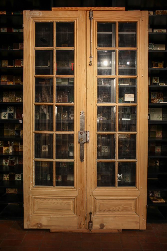 12 Lite Pine French Doors A10021 - Antique Oak French Doors, Wood Glass Front Door, Architectural
