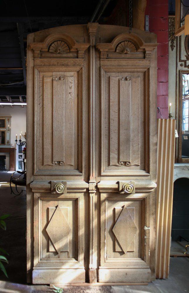 Antique Oak French Doors Wood Glass Front Door Architectural