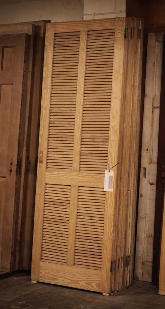 Large Louvered Doors A11906 - Antique Oak French Doors, Wood Glass Front Door, Architectural