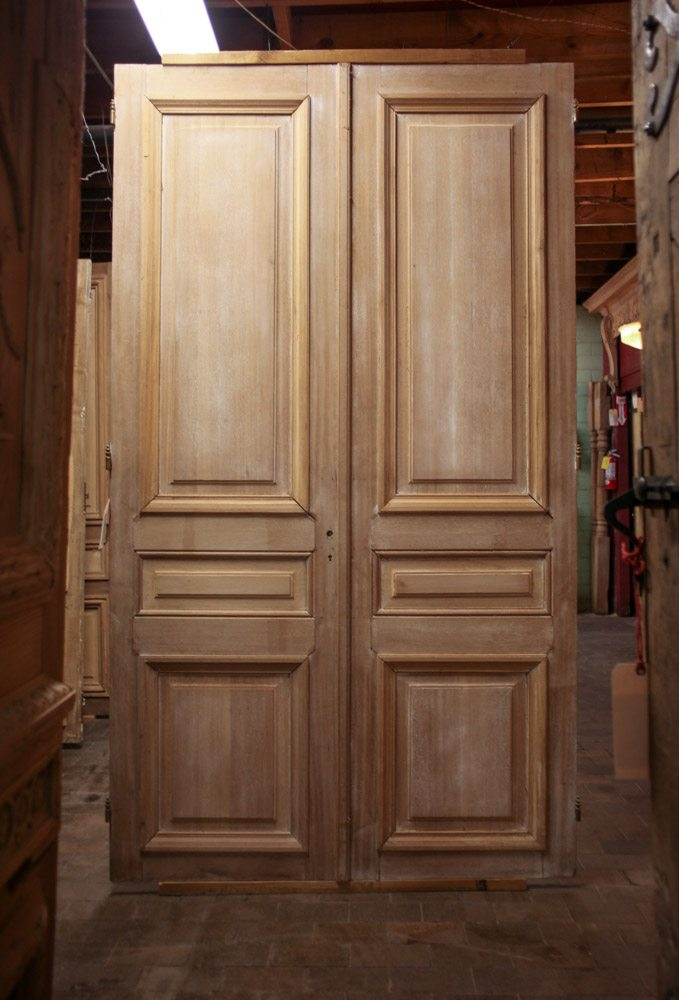 Parisian Mahogany Doors A10499 - Antique Oak French Doors, Wood Glass Front Door, Architectural